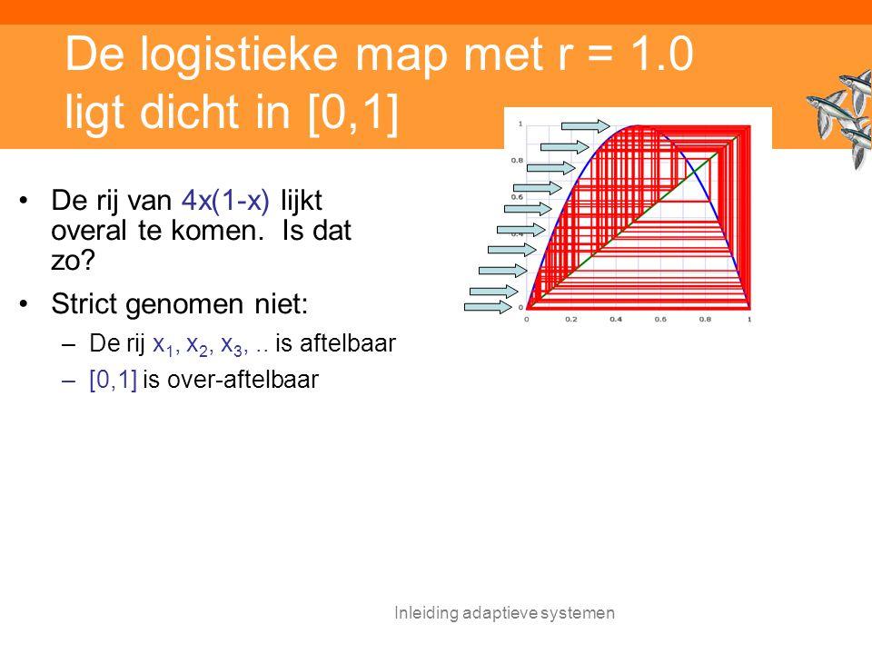 De logistieke map met r = 1.0 ligt dicht in [0,1]